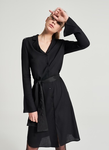 Pi π Gömlek Elbise Siyah